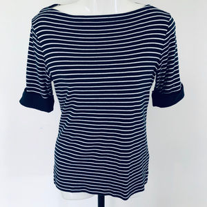 Ralph Lauren T-Shirt Navy Stripe Boat Neck Cuffed